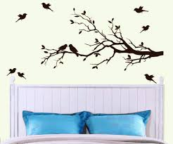 birds flying and stand on trees wall art all painted black white background bedroom concept blue  on wall art black and white trees with wall art top 10 best collection trees wall art tree wall sculpture