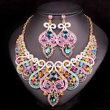 whole fashion indian bridal jewelry sets wedding necklace earring set for brides bridesmaid party accessories crystal decoration women wedding jewelry