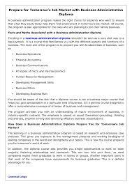 prepare for tomorrow s job market business administration diploma prepare for tomorrow s job market business administration diploma a business administration program makes the right