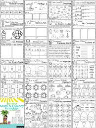 first grade summer worksheets math and literacy