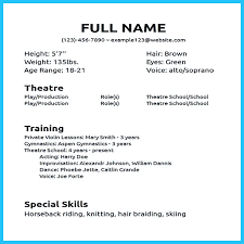 002 Beginner Actor Resume Template Wondrous Ideas Acting Word