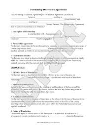 Partnership Dissolution Agreement Form With Sample Partnership