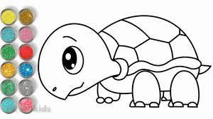 Vẽ con rùa dễ thương và tô màu long lanh cho bé ♥ Drawing Turtle Color Page  ♥ - YouTube
