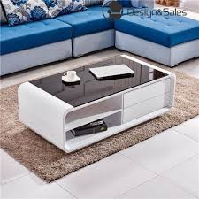 white high gloss coffee table with black tempered glass top and 2 drawers