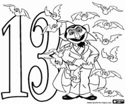 Small Picture Number 13 and Count Dracula with thirteen bats coloring page