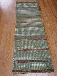 handwoven rag rug green runner rag rug runners for stairs