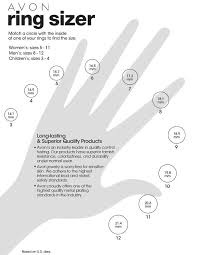 Average Woman S Ring Size Chart Your Avon Lady Joanna Avon Size Charts For Women Kid And