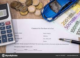 Document Buying Car Euro Pen Calculator Toy Car Stock Photo