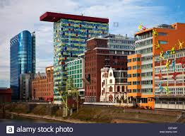 Different Facades Of Office Buildings In The Media Harbour Germany North RhineWestphalia Duesseldorf