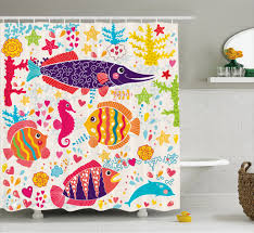 kids shower curtain set cartoon art with fish seahorse starfish dolphin c underwater life kids deco bathroom decor red yellow blue by ambesonne