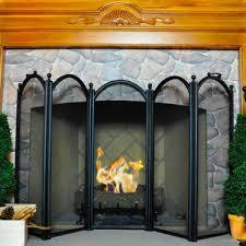 5 fold large diameter fireplace screen black