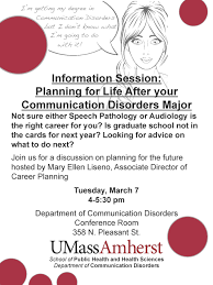 sphhs event listings school of public health and health sciences information session planning for life after your communication disorders major