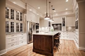 oak kitchen cabinets with granite countertops. Kitchen Design With Creamy White Cabinets Painted Benjamin Moore Dove, Coffee Stained Oak Island, River Granite Countertops, Countertops