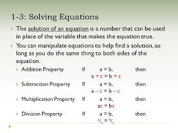 1 3 solving equations the solution of an equation is a number that