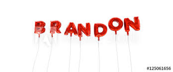 BRANDON - word made from red foil balloons - 3D rendered. Can be ...