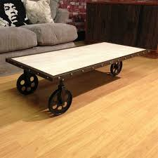 reclaimed industrial factory cart trolley coffee table with 3 iron wheels
