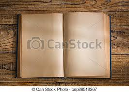 open blank pages of old book on wood background csp28512367