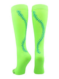 Girls Softball Socks With Stitches Over The Calf