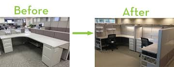 Refurbished furniture before and after Furniture Makeovers Check It Out Refurbished Office Cubicles Bing Why Refurbished Office Furniture May Be Perfect For You Ethosource