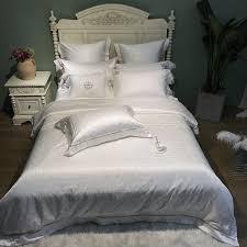 white silk egyptian cotton queen king size bedding set duvet cover bed sheet fitted sheet pillowcases ropa de cama linge de lit