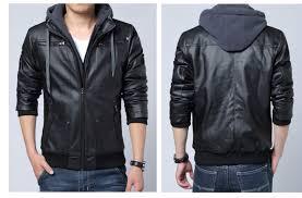 men winter leather jacket male motorcycle jackets polar fleece hood detachable pu faux leather jacket men fashion biker jackets