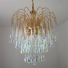 gilt brass chandelier by paolo venini with murano glass teardrops