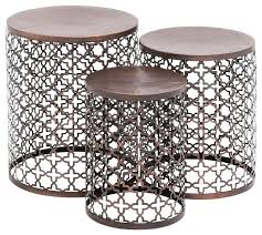 magnificient round metal accent table h0277469 metal drum accent side table