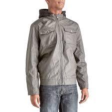mens faux leather moto jacket with fleece hood urban republic