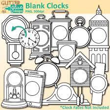 Blank Clock Clip Art Clock Face Frames Templates B W