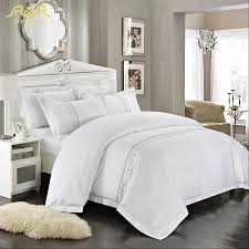 romorus whole hotel bedding set 4 6 pcs white king queen size 100 cotton embroidered tribute silk quality bed linen sets in bedding sets from home
