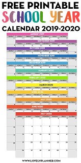 Printable School Year Calendars Free Printable School Year Calendar Monthly Pages 2019