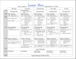 Weekly Lesson Plan Templates First Grade Lesson Plan Template