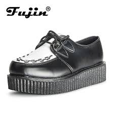 <b>Fujin Brand Creepers Women</b> Shoes Flat Platform Shoes Black ...
