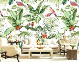Bird Wallpaper For Walls Stereo Tropical Garden Flower Bird Painting Style  Wallpaper Bedroom Background Personality Wallpaper