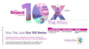 Caribbean Airlines Miles Reward Chart Two Days Only Earn 10x Flight Miles Buy One Get Enough
