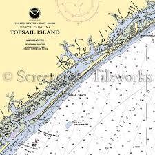 North Carolina Topsail Island Nautical Chart Decor