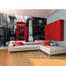 London Wallpaper Bedroom Red British Telephone Box On A Black And White Backdrop Wall Mural