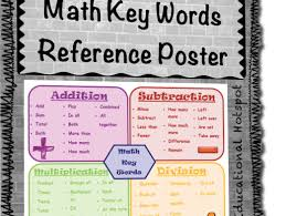 Addition And Subtraction Key Words Anchor Chart Math Key Words Poster