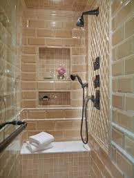 enclosed shower with glass tile and built in bench