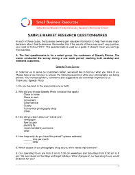 Questionnaire Questions For A Business Pdf Sample Market Research Questionaire For Small Business