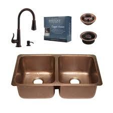 sinkology pfister all in one rivera copper undermount 32 in kitchen sink kit