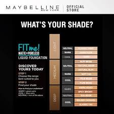 Maybelline Fit Me Foundation Color Chart Maybelline Fit Me Matte Poreless Foundation 4 Shades