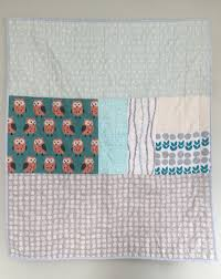 owl themed crib quilt | namooquilts & Quilt for Modern Nursery Mint Aqua Owl Adamdwight.com