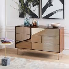 nouveau mirror 6 drawer dresser