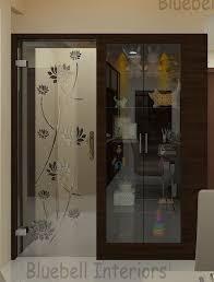 pooja room door full glass door lotus