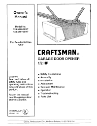 craftsman garage door opener manual. Craftsman 139.53962 SRT Garage Door Opener User Manual