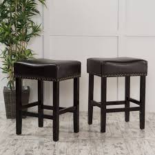 noble house roland backless black leather counter stool set of 2 com
