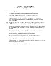 How To Critique An Essay Evaluation Critique Review Essay