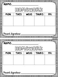 Weekly Homework Editable Weekly Homework Template