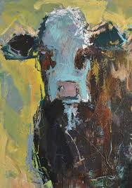wine design abstract cow painting